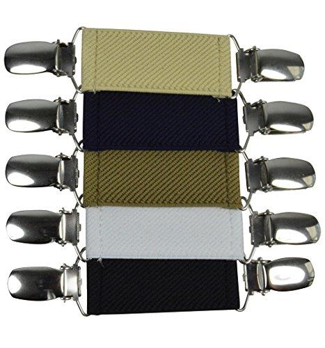 Olata Damen Elastisch Pullover/Cardigan Clip für Kleidung. Paket von 5 - Schwarz/Weiß/Hellcreme/Creme/Marineblau - Kleidung Pullover