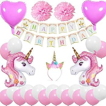 Cebelle Décorations Fête Anniversaire Licorne Faveurs Bandeau Corne Licorne Bannière Joyeux Anniversaire 2 Licorne Ballons énormes 2 Fleurs2