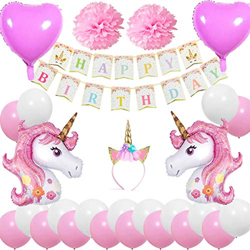 Cebelle Einhorn Birthday Party Dekorationen begünstigt Stirnband Happy Birthday Banner 2 riesige Einhorn Ballons 2 Pom Blumen und 2 Herz Folienballons 20 Latex Ballons, Geschenk für Mädchen