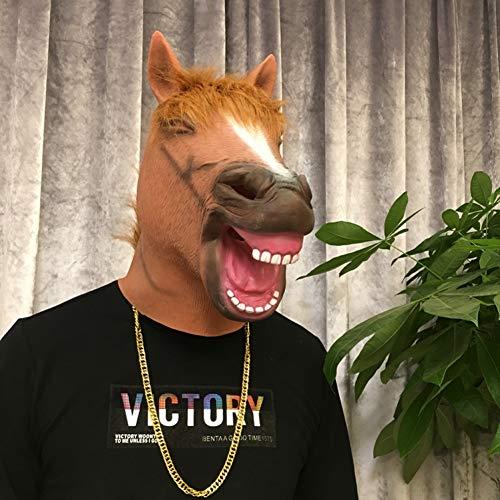 HAODGUO Halloween Maske Reiter Maske Kostüm Masken Realistische Latex Pferd Gesicht Lustige Maskerade Masken Silikon Tier Gesicht Halloween Party (Gutes Pferd Und Reiter Kostüm)