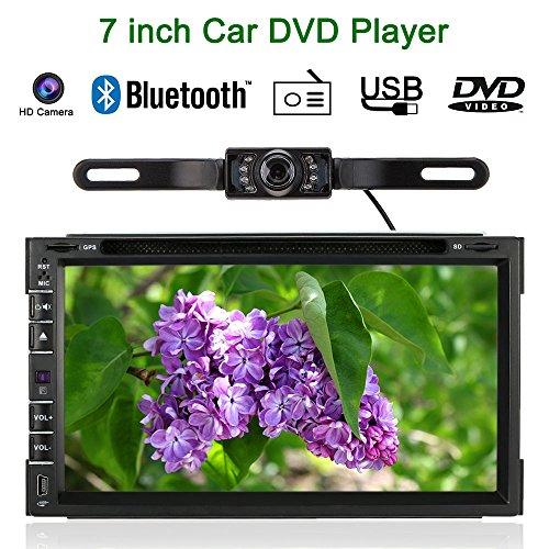 KKmoon 7 Pouce Système de Divertissement Universal 2 Din Voiture Lecteur DVD/USB/SD GPS Navigator HD élégante Interface Utilisateur Multimédia Bluetooth Radio + Caméra HD