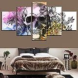 WEPAINT Arte de la Pared Imagen Modular 5 Piezas Abstractas Flores y Calaveras Lienzo Pintura HD para la Sala...