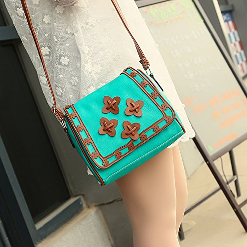 Moda Donna Borsa a Tracolla Vintage Borse a Spalla Borsa a Mano Borsetta con Piccoli Fiori Decorano Verde chiaro