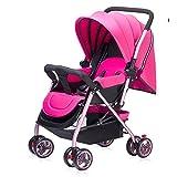 MuMa Bambino Molto Leggero Mezzo Coperto Portatile Passeggino Pieghevole Paesaggio Alto Auto Ombrello (Colore : Rosa)