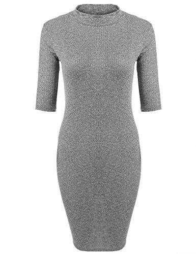 ACEVOG Damen figurbetontes Strickkleid Halbarm mit Rollkragen stricken Freizeitkleid Casual Elegant Kleid eng (XL (Herstellergröße: EU 40), Grau)
