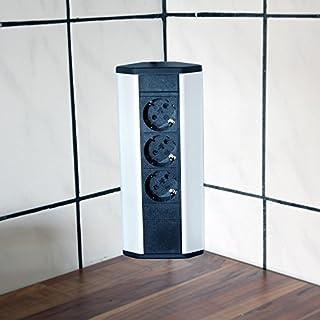 Steckdose für Küche und Büro – Ecksteckdose aus Aluminium und hochwertigem Kunststoff ideal für Arbeitsplatte, Tischsteckdose oder Unterbausteckdose mit 3-fach Steckdosenelement Küchensteckdose