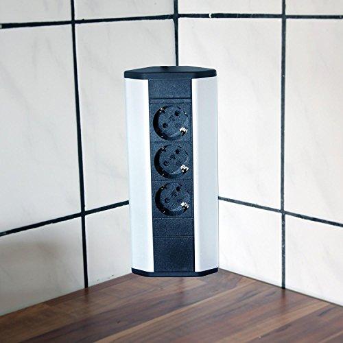 ecksteckdosen fuer kueche Steckdose für Küche und Büro – Ecksteckdose aus Aluminium und hochwertigem Kunststoff ideal für Arbeitsplatte, Tischsteckdose oder Unterbausteckdose mit 3-fach Steckdosenelement Küchensteckdose