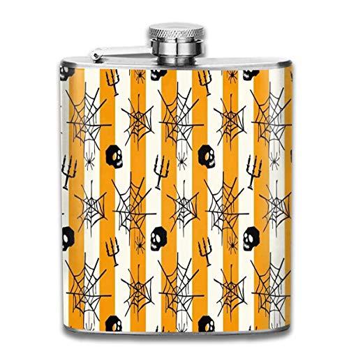 FGRYGF Edelstahlflasche, Whiskey Flask Vodka Alcohol Flask Halloween Spooky Forest Dead Trees Pumpkins Portable Pocket Bottle, Bag Bottle, Camping Wine Bottle, Suitable for Men and Women 7oz