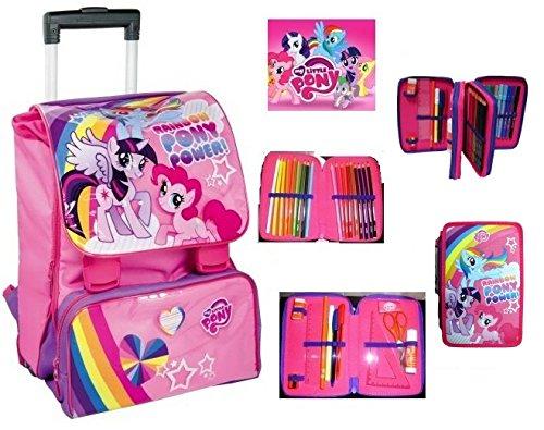 Trolley my little pony disney zaino trolley estensibile scuola tempo libero school pack con astuccio 3 zip (rosa)