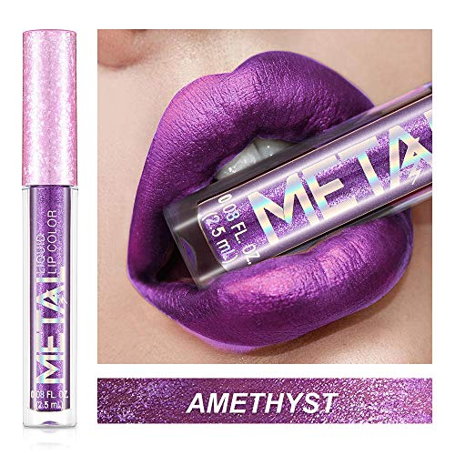 Huihong METALL 6 Farbe Schimmer Glitter Wasserdicht Lippenstift Feuchtigkeitscreme Kosmetik Schönheit Make Up Lipgloss Sexy Lippe (F) - Sexy Schimmer