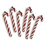 WeRChristmas - Bastones de Caramelo para adornar árbol de Navidad, con Purpurina y Cinta, 6 Unidades, Rojo/Blanco