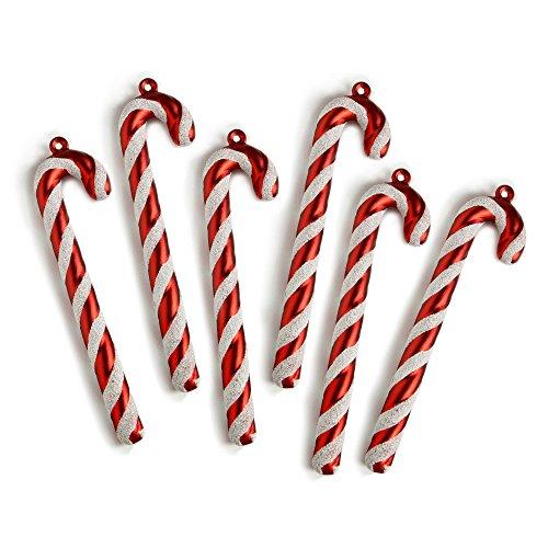 WeRChristmas - Bastones de caramelo para adornar árbol de Navidad, con purpurina...