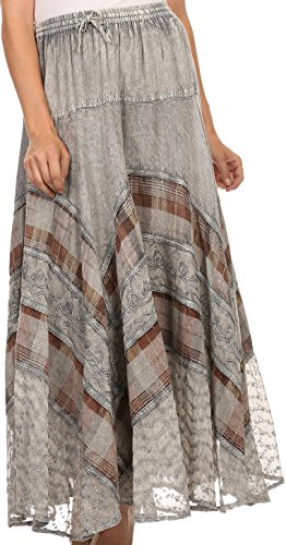 Sakkas 15320 - Hailes Long Tall, breit, Silber Gestickte Batik Justierbare Taille Rock - Grau - OS
