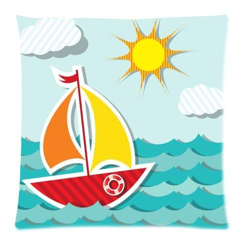 Tina's Store Kissenbezug Sofa Deko Boot Cartoon Printed Muster Kissen Schutzhülle für Schlafzimmer 1818Zwei Seiten für Kinder