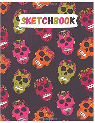 ll Sketchbook for Adults/Children to Sketching, Whiting, Drawing, Journaling and Doodling, Large (8.5x11 Inch. 21.59x27.94 cm.) 120 Blank Pages (GREY&PINK&GREEN&ORANGE Pattern) ()