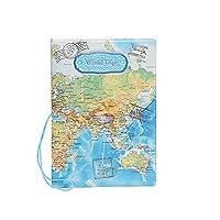 Beiersi World Map PU Leather Passport Cover Holder Pockets ID Bag Cards Folder (Blue)