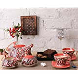 [Sponsored]Teaset Ceramic/Stoneware In Red Mughal (Kettle, Sugar & Milk Container, Cups With Saucer) (Set Of 15 Piece) Handmade By Caffeine