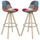 EUGAD 2er Set Barhocker Küchenstuhl mit Rücklehne Barstuhl Stuhl Patchwork Bezug Holzgestell aus Massivholz BH45mf-2