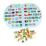 Homyl Juego De Juguete De Mapa Montessori Geografía De Madera - Mapa Mundial Y 36 Banderas para Niños, Regalo De Cumpleaños