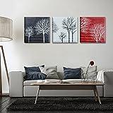 Raybre Art® 3 Stück/set 100% Handgemaltes auf Leinwand Gemälde Arbeit Ölgemälde Abstrakte Moderne Landschaft Baum Schwarz Weiß Rot Minimalism Wandbilder Schlafzimmer Bilder für Hausdekor Wandkunst, ohne Rahmen