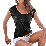 VEMOW Damen Mädchen Frauen Sommer Lose Kurzarm Stern Gedruckt Casual Täglichen Sport Oansatz T-Shirt Bluse Tops Pullover Tees(Schwarz, EU-40/CN-S)