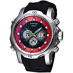 BOAMIGO Luminous Alarm Week 50M Waterproof Quartz Digital Mens Watch (Silver Red)