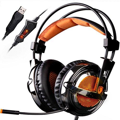 Sades A6 - Auriculares gaming de diadema cerrados (con micrófono, reducción de ruido, USB), color negro y naranja