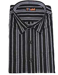 Twist Mens Semi-Casual Regular Fit Shirt/Half Sleeve Cotton Shirts/Half Sleeve Shirts/Stripes Dress Shirts,Black...