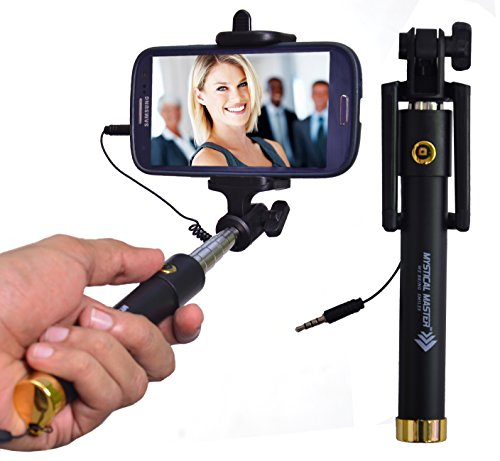 Mystical Master™ Selfie Stick with Wire/Aux Cable {With New Logo} (No Bluetooth or Battery) for taking Photos & Videos on all Mobile Phones, Original Premium & Best Quality, Light Weight, Best Price Gift, Long Length Extendable & Foldable Monopod, Golden Selfie Stick for iPhones (iOS 5.0+) 4s, 5s, 6s, 6s Plus, Android Phones, Samsung Galaxy, Note, Edge, Gionee, Intex, Karbonn, Lenovo, Nokia, Nexus, Oppo, Vivo, Coolpad, One Plus, Moto, Sony