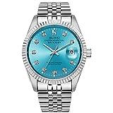 BUREI Luxus Herrenuhr mechanische Automatik Armbanduhr 24 Dial Analog Display Automatikuhr schwarz Ziffernblatt und Echtes Lederband
