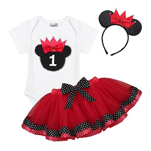 49edde2662817 YiZYiF Bébé Fille Costume Baptême 1er Anniversaire Tenue Cartoon Body  Combinaison Barboteuse   Tulle Tutu Jupe