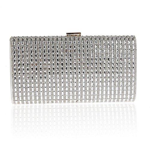 Abiti nuova borsa pochette moda borsa da sera di banchetto mano borsa sposa Annual Meeting ( Colore : Nero ) Silver