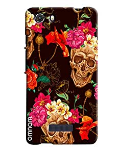 Omnam Skelton And Flower Printed On Brown Base Printed Designer Back Cover Case For Micromax Unite 3
