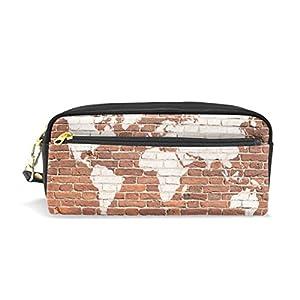 jstel ladrillo de pared antiguo mapa del mundo Graffiti escuela lápiz bolsa para bebés de los niños Niños Adolescentes soporte para bolígrafos de maquillaje bolsa mujer duradera gran capacidad bolsa de papelería