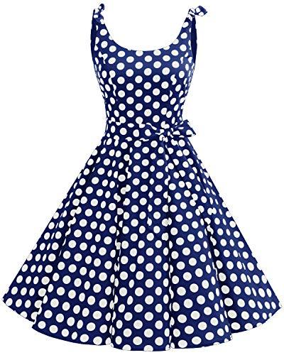 bbonlinedress 1950er Vintage Polka Dots Pinup Retro Rockabilly Kleid Cocktailkleider Blue White Big DotL Elegante Damen-mode