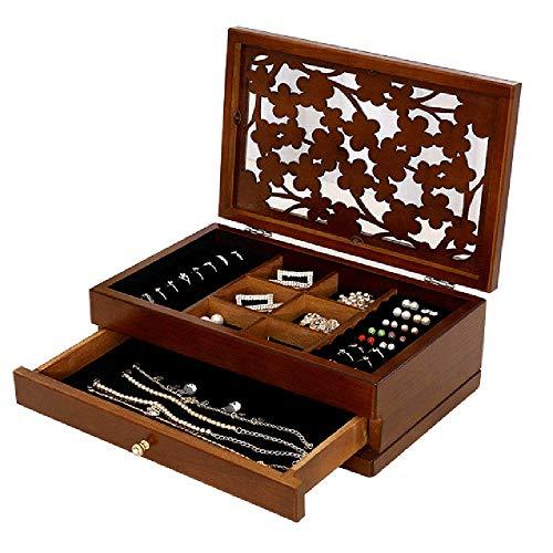 Renjianfeng astuccio per gioielli femminile in legno di grandi dimensioni,organizzatore portagioie da donna con quadrifoglio, con cassetti estraibili scatola per medicazione multiuso,marrone