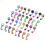 100 MIX Assorted Ball Belly Navel Barbell Bars Rings Body Piercing