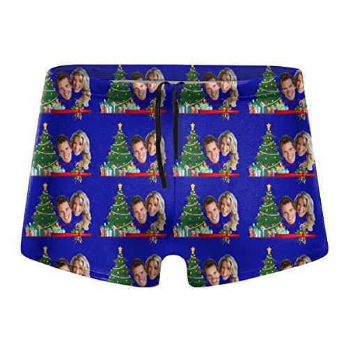DIYBESTGIFT Badehose für Herren, personalisierter Fotodruck, Foto, Paar, Weihnachtshose Gr. S, violett