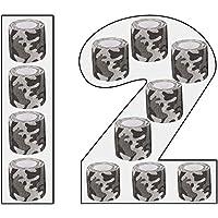Kohesive - Vendas autoadhesivas (12 unidades, 5 cm de ancho, 4,5 m de longitud, para dedos), diseño de camuflaje