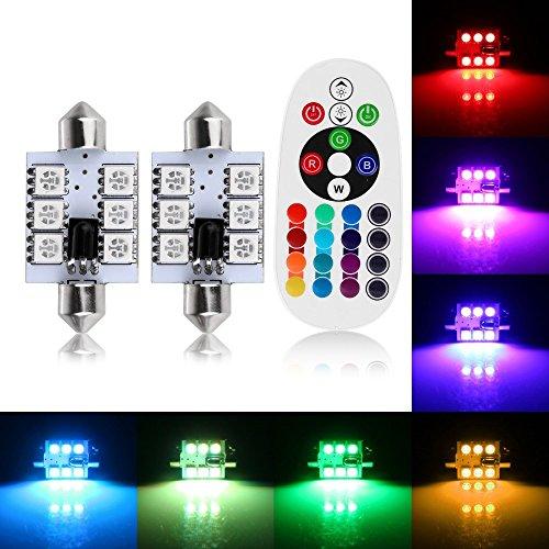 Stil Kuppel Licht (Everbright 2RGBW Auto Leuchtmittel 31mm 36mm 39mm 41mm Kuppel Soffitte LED 12V Auto LED SMD 5050LED Innen Leuchtmittel Leselicht Auto Licht Quelle (31mm))