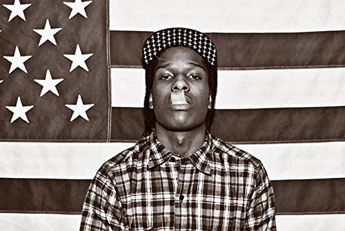 Buyartforless ASAP Mob Rocky mit Flagge 36x 24AR Musik Kunstdruck Poster raqim Mayers Rauchen Plaid Shirt Rap Hip Hop