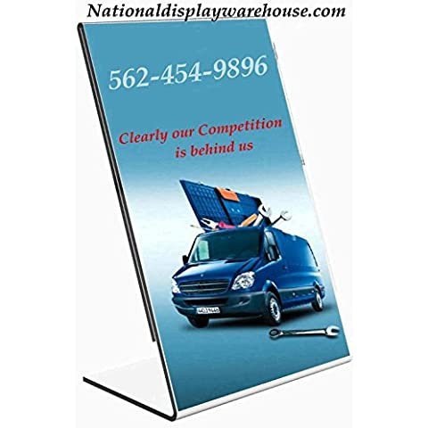 National Display Warehouse Sign Holder 8.5x11 Table Top Side Loading Slant Back Lot of 10 by National Display Warehouse