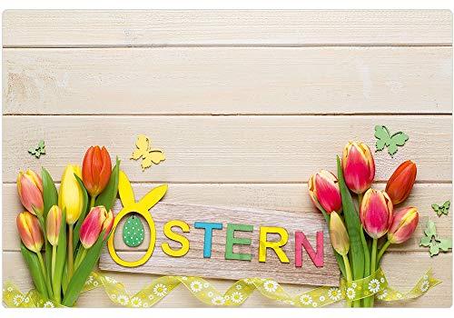 matches21 Tischsets Platzsets Motiv Frühling & Ostern Bunte Tulpen & Schmetterlingen Osterdeko auf Holz 8er Set Kunststoff je 43,5x28,5 cm abwaschbar