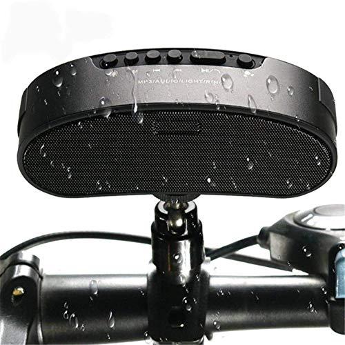 Fahrrad wasserdichte Bluetooth-Lautsprecher mit LED-Taschenlampe, tragbare Outdoor-Übung drahtloser Freisprecheinrichtung mit FM-Radio, Unterstützung TF-Karte Klingelring und Halter für Fahrrad,Black
