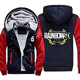 Whittie Rainbow 6 Rainbow Six Siege Giacca Maglione con Cappuccio Taglie Forti Abbigliamento Invernale in Cotone,Red,XL