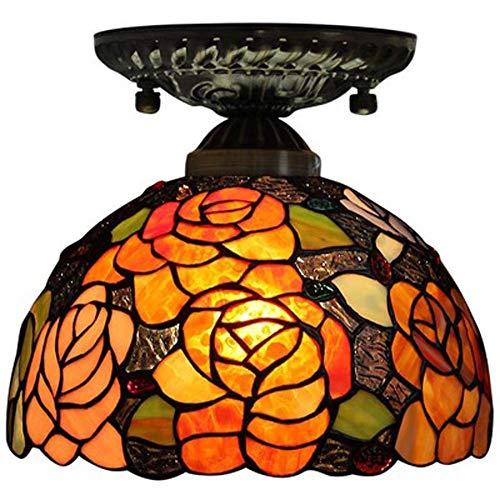 XYQS Tiffany Stil Europäischen Retro Deckenleuchte Farbe Glas Warmes Licht Handgefertigte Lampenschirm Geeignet für Wohnzimmer Schlafzimmer Restaurant Bar Gang Korridor Badezimmer Coffee Shop