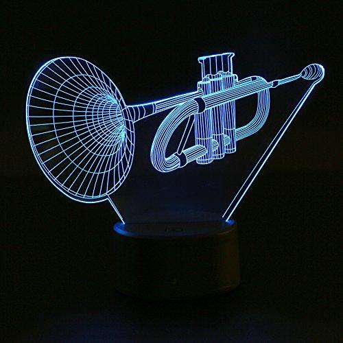 eecoo 3D Tisch Nachttischlampen, 3D Optische Visualisierung LED Licht USB Schreibtischlampen Stimmungslichter Touch Schreibtisch 7 Farbwechsel Atmosphäre Lampe (Trompete)