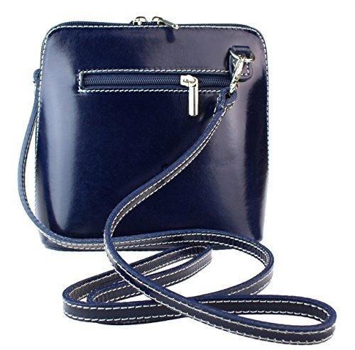 H&G Vera Pelle Trapezoid Shaped Mini Italian Real Leather Cross-Body Handbag (Purple) Navy