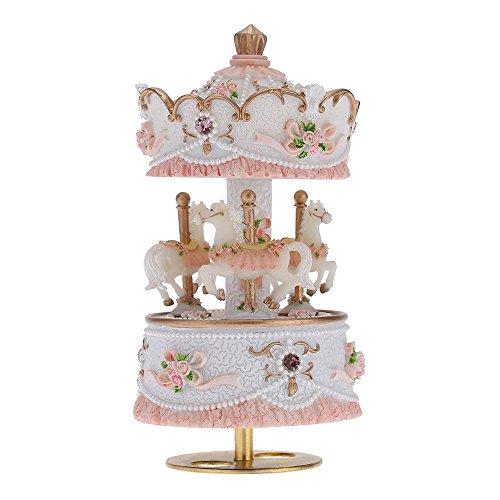 Andoer Laxury Windup 3-cavallo del Carosello Music Box Creativo Artware/regali Castello Melody nel Cielo Rosa/Viola/Azzurro/Oro Ombra per L'opzione
