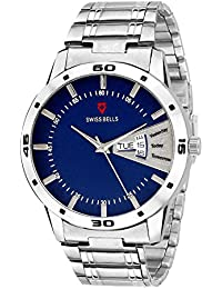 Svviss Bells Original Blue Dial Silver Chain Day and Date Chronograph Wrist Watch for Men - TA-1043